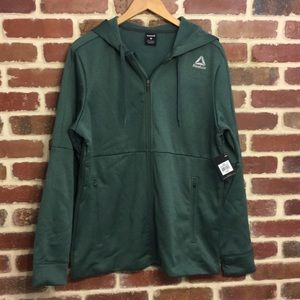 Reebok green zip up sweatshirt NEW
